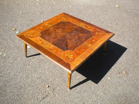 wooden inlaid table by Kathleen Martindale